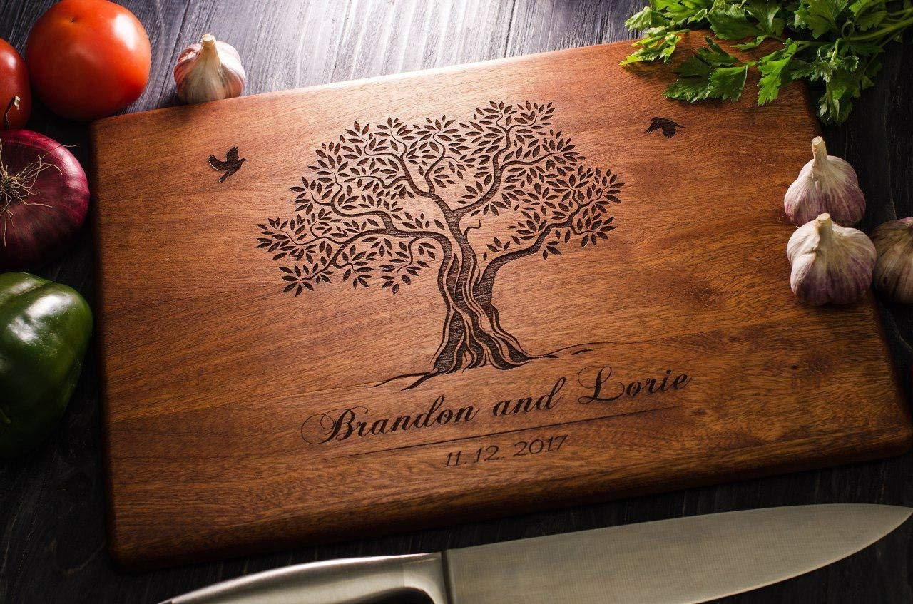Custom Family Olive Tree Personalized Engraved Cutting Board Wedding Gift, Anniversary Gifts, Housewarming Gift,Birthday Gift, Corporate Gift, Award custom11