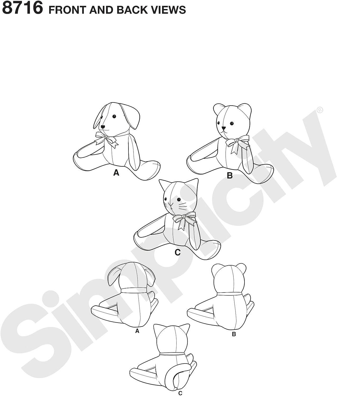 Simplicity Creative Patterns US8716OS Patron 8716 Animaux en peluche