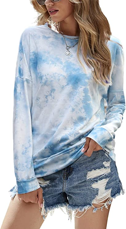 NECHOLOGY Womens Printed Long Sleeve Sweatshirts Lightweight Casual Pullover Tops Sweatshirts Round Neck Blouse