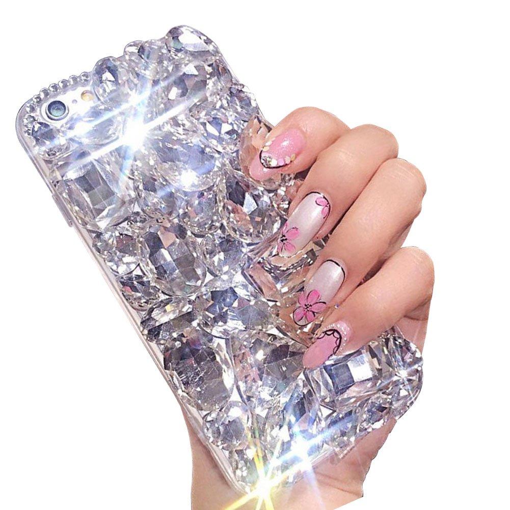 Voller Diamant Hülle für Samsung Galaxy A6 Plus 2018, Aearl TPU Silikon Transparent 3D Bling Glitzer Kristall Steinchen Handyhülle Bumper Case Cover mit Displayschutzfolie für Samsung Galaxy A6 Plus 2018, Rot