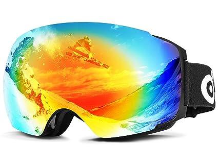 Odoland snow ski goggles with magnetic detachable lens