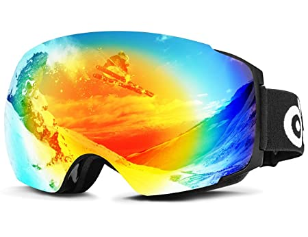 Odoland Snow Ski Goggles with Magnetic Detachable Lens – Double Spherical Lens and Eyewear Compatible – uv400 Anti-Fog Windproof Eyewear for Snowboarding, Snowmobile Winter Outdoor Sports