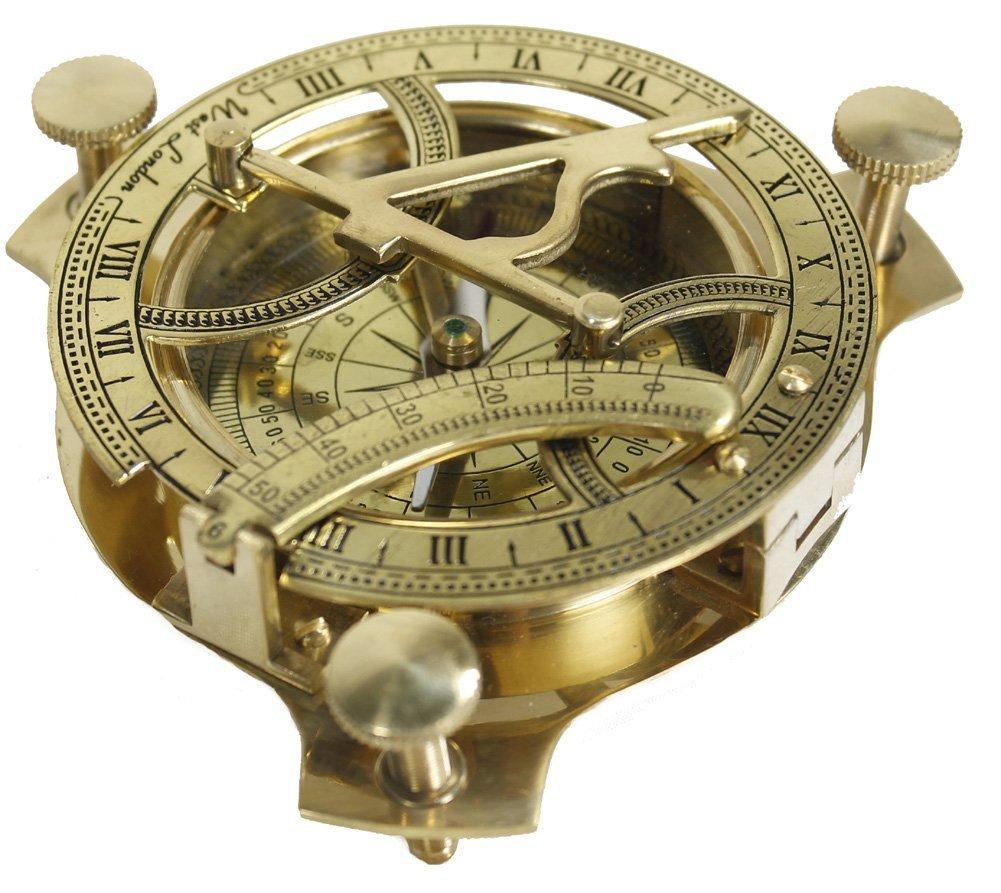 STREET CRAFT 4'' Sundial Compass - Solid Brass Sundial