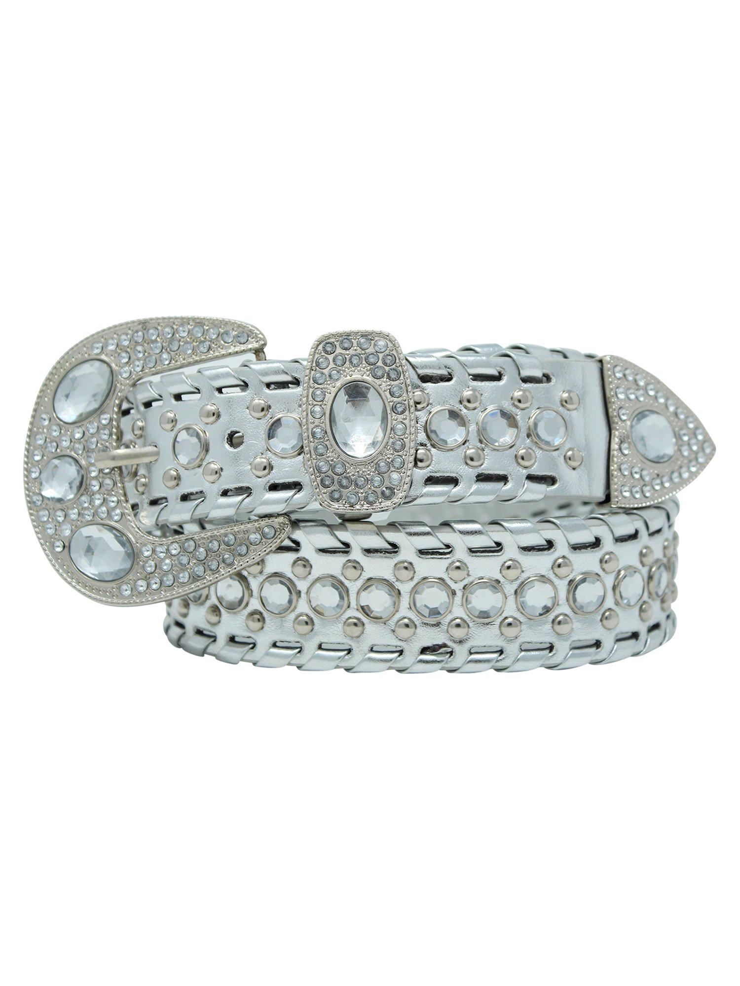 Silver Rhinestone Western Style Belt Size Small by Luxury Divas