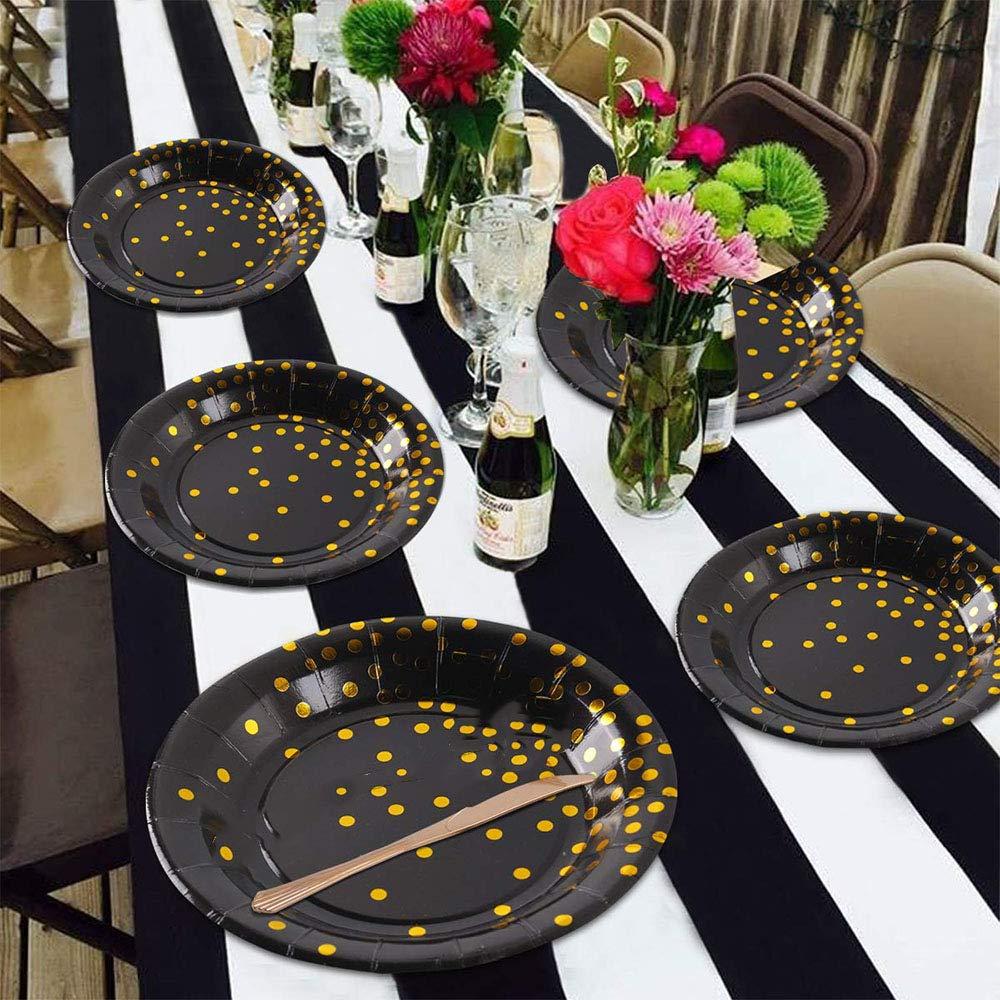Vajilla Desechable Lunares Dorados para Fiestas Aniversarios Cumplea/ños 10 Invitados Bodas Vajilla Desechable Oro Negro Ritte 70 Piezas Vajilla Fiesta Oro Negro
