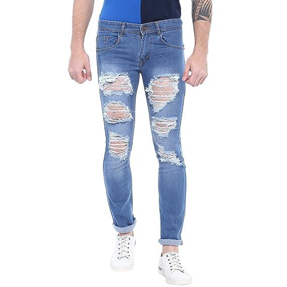 50b9348722d Urbano Fashion Men's Heavy Distressed/Ripped Light Blue Slim Fit Stretch  Jeans (tor-