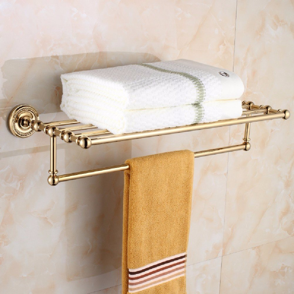 HQLCX Bath Towel Bar, Gold All Copper, European Towel Bar, Bathroom Shelf