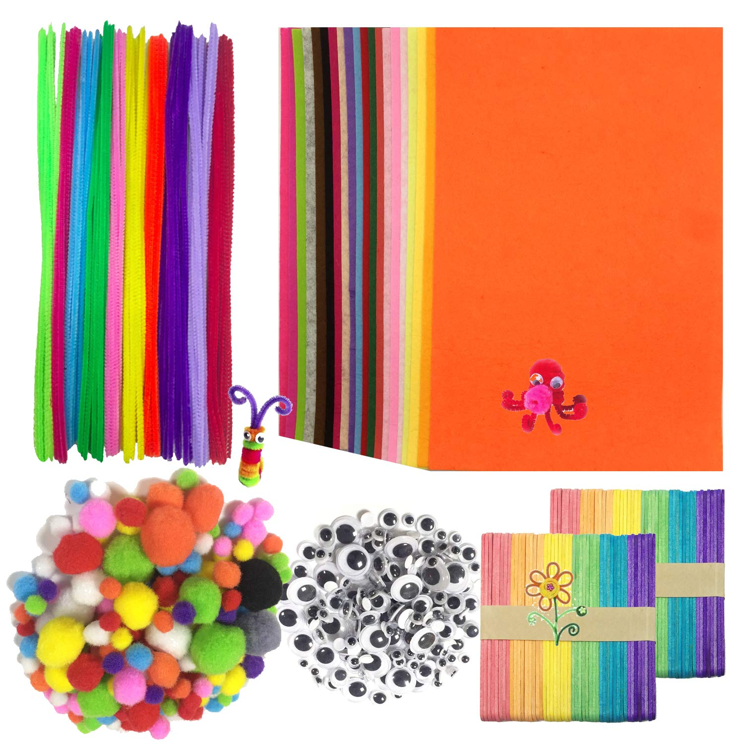 limpiapipas Chenille Stem y pompones con Googly Wiggle Eyes y Craft Sticks para Craft DIY Art Supplies Wartoon Pipe Cleaners Crafts Set 650pcs