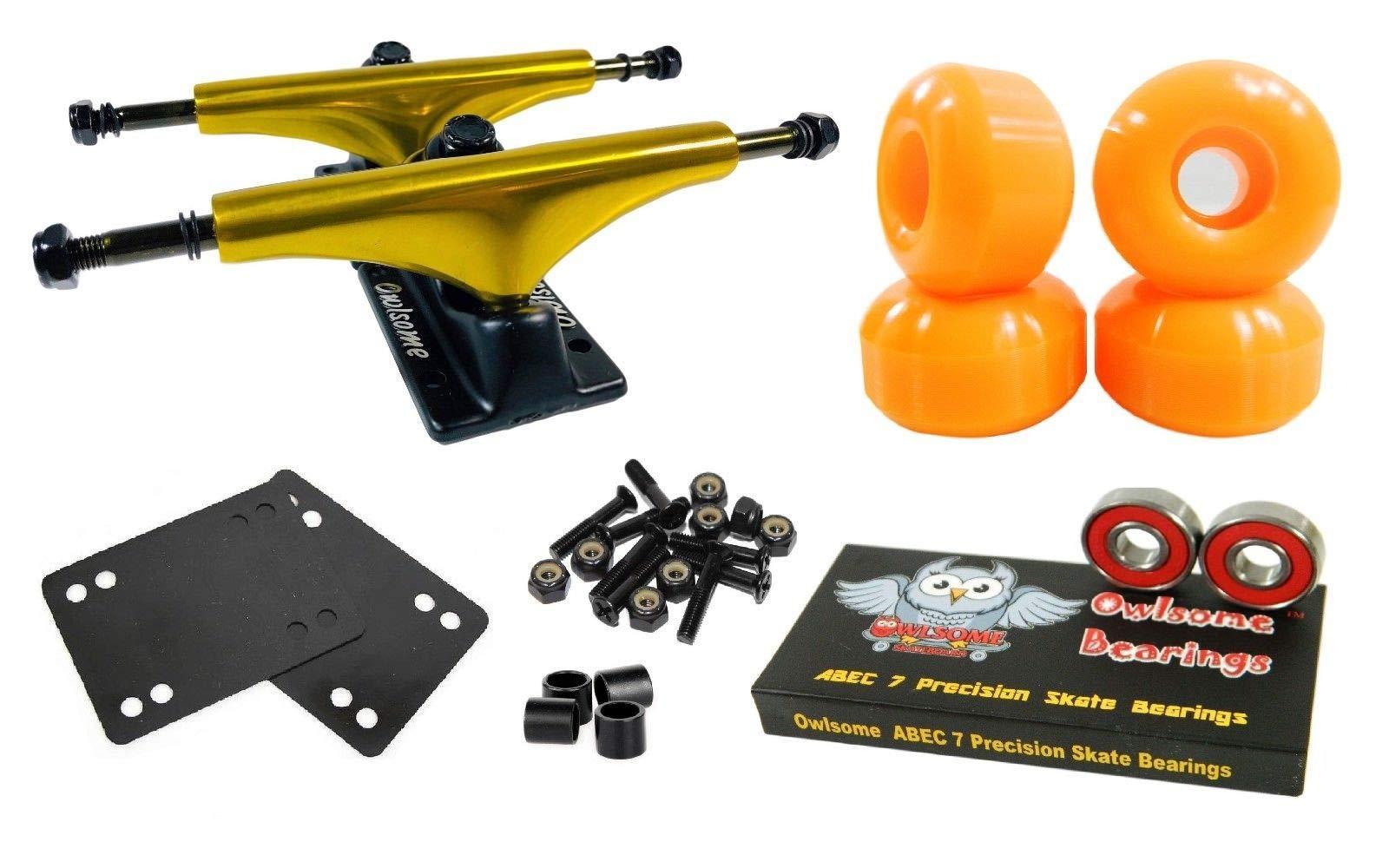 Orange 5.25 Gold/Blk Skateboard Trucks with 52Mm Wheels ABEC 7 Bearings Combo Set