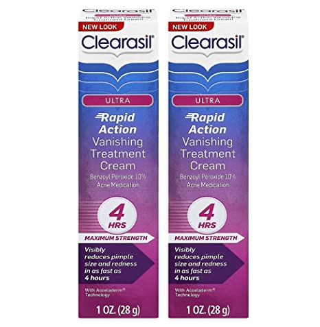 Clearasil Ultra Rapid Action Vanishing Acne Treatment Cream, 1 Ounce Vitamin Enhanced Face Firming Serum with Organic Nutrients of coq10, dmae, and vitamins a, b, c and e.