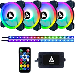 Apevia TL412L2S-RGB Twilight 120mm Silent Dual-Ring Addressable RGB Color Changing LED Fan with Remote Control, 28x LEDs & 8X Anti-Vibration Rubber Pads w/ 2 Magnetic Addressable LED Strips (4+2-pk)