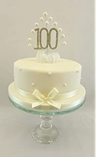 CAKE TOPPER PEARL BURST DECORATION SPRAY DIAMANTE 100th BIRTHDAY IVORY