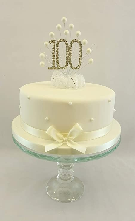 CAKE TOPPER PEARL BURST DECORATION SPRAY DIAMANTE 100th BIRTHDAY IVORY PEARLS Amazoncouk Kitchen Home