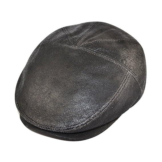 Gladwinbond Sheepskin Leather Flat Cap  Amazon.co.uk  Clothing 2cff4e00262