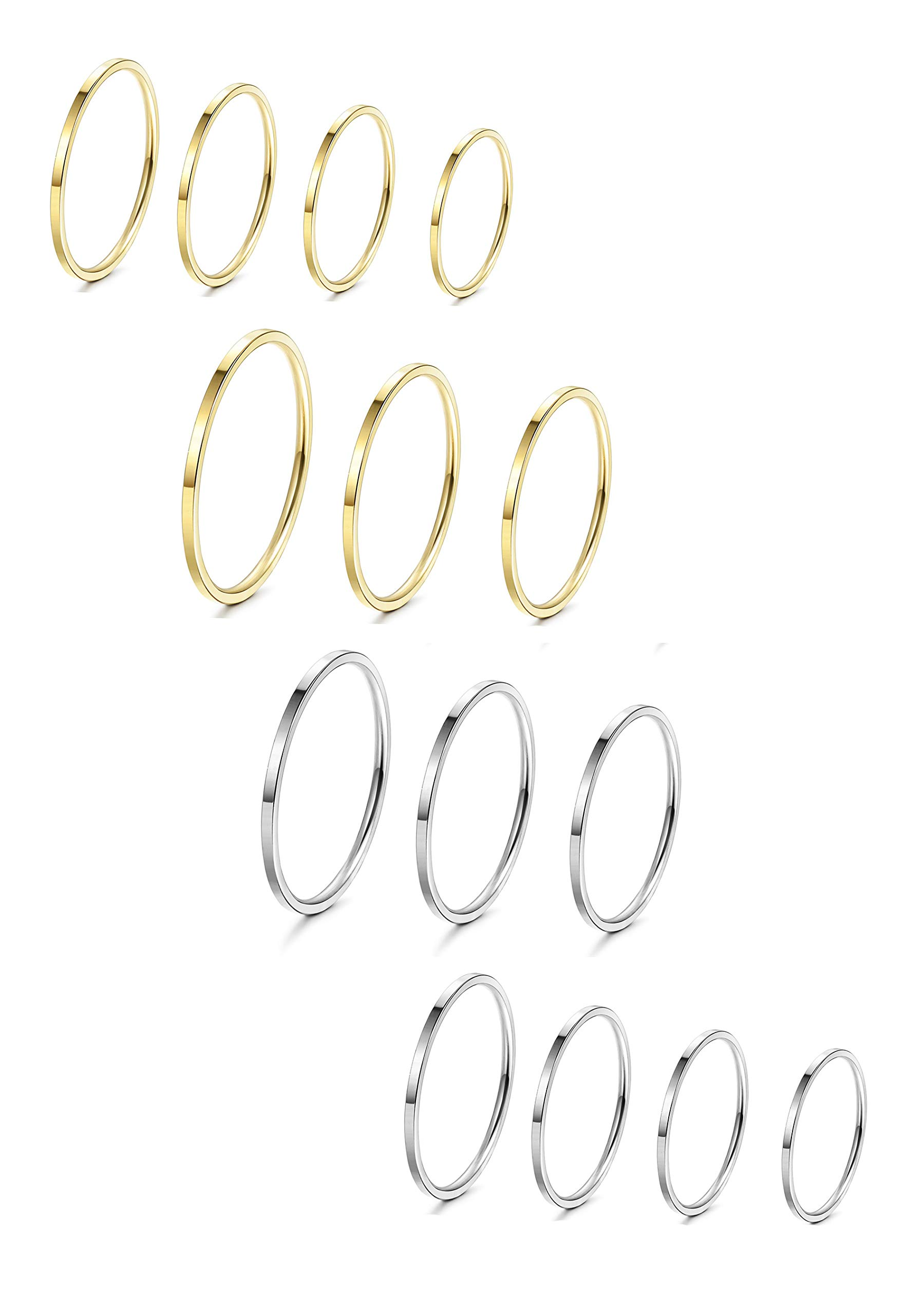 LOYALLOOK 8-14Pcs 1mm Stainless Steel Women's Plain Band Knuckle Stacking Midi Rings Comfort Fit Silver/Gold/Rose Tone by LOYALLOOK