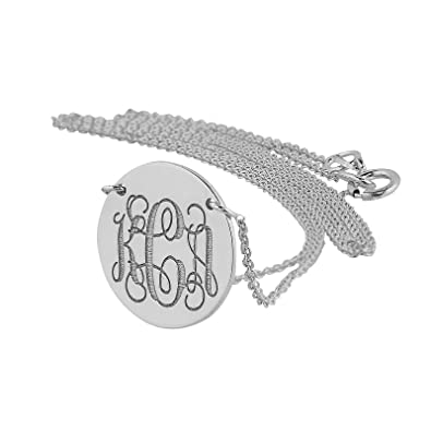 795189d71f680c Soul Jewelry 3 Initials Monogram Disc Charm Necklace Solid 14K White Gold  Dainty Small 1/