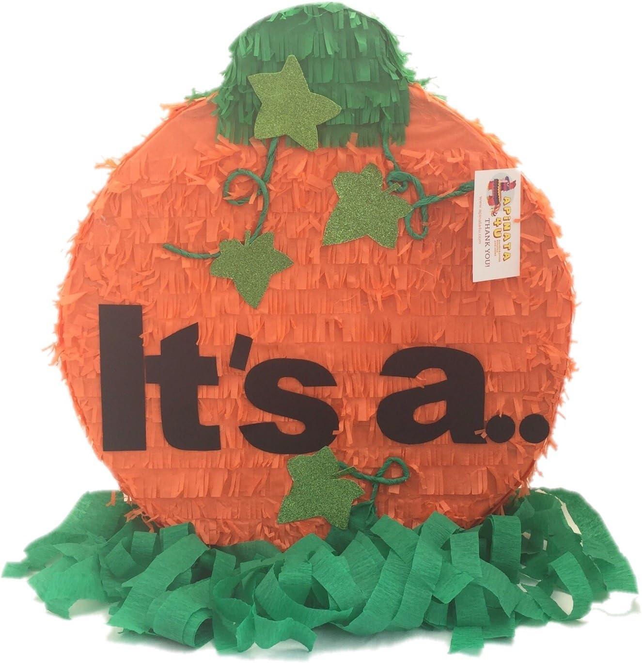 Amazon Com Apinata4u It S A Gender Reveal Pumpkin Pinata Fall Theme Thanksgiving Toys Games