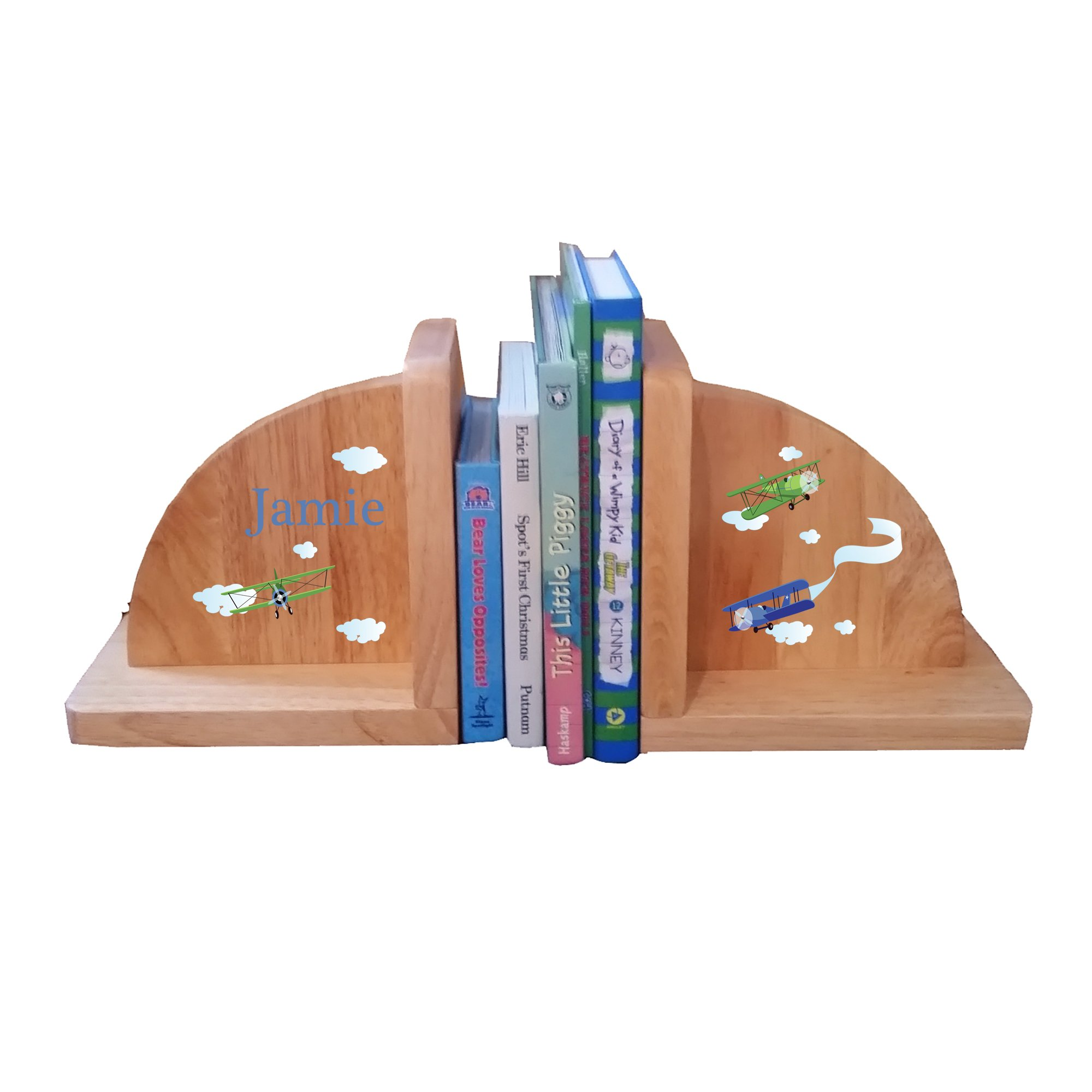 Personalized Bi Planes Natural Childrens Wooden Bookends