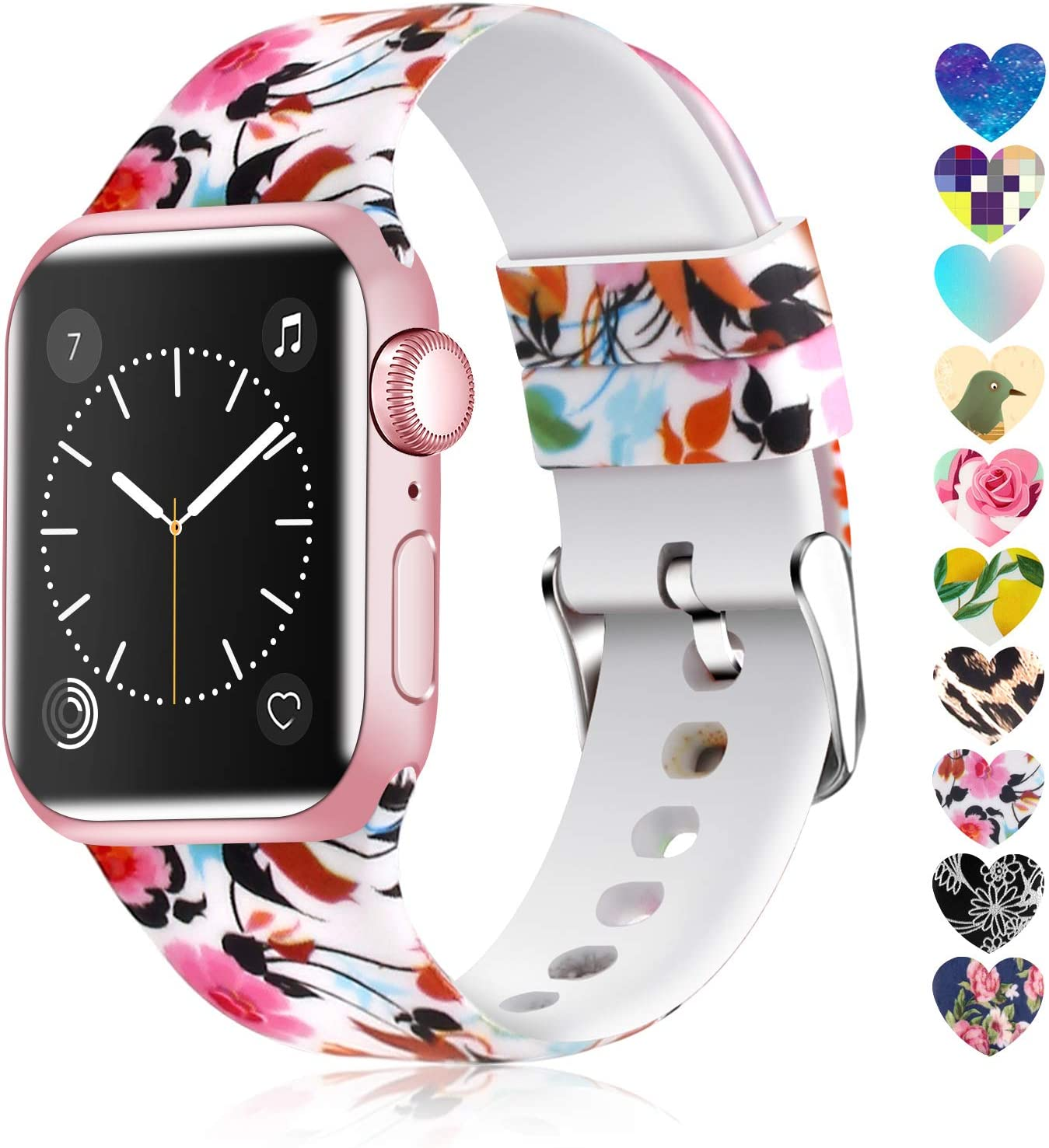 Moretek Colorful band Compatible for Apple Watch 38mm 42mm 40mm 44mm,Soft Silicone Sport Replacement Strap for iWatch Series 5 4 3 2 1, Nike+, Edition Women Men (Flower 12, 42/44mm)