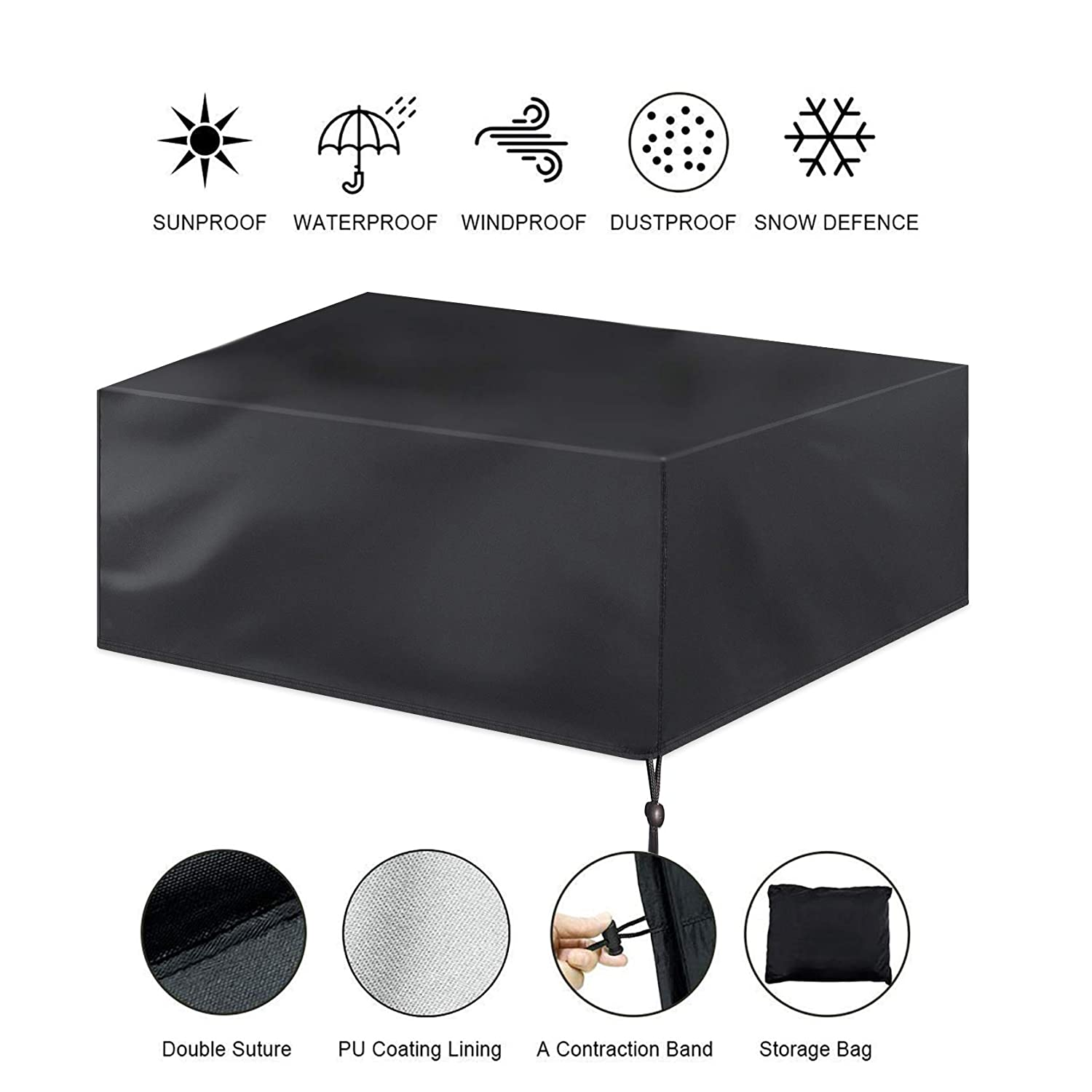 Luck Dawn Patio Furniture Covers, Waterproof Dust-Proof Outdoor Rectangular Table and Chair Set Cover with Straps Fasteners