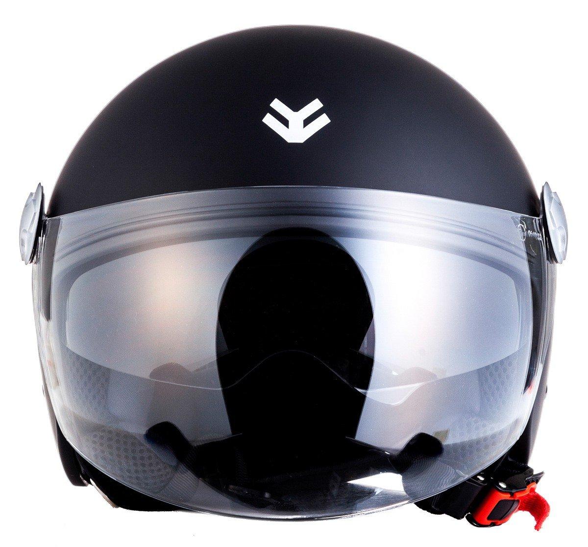 "/· Open Face Helmet /· Scooter Retro Motorcycle Pilot Jet Motorbike /· ECE certified /· Separate Visors /· Click-n-Secure Clip /· Carrier Bag /· XL 61-62cm red Armor /· AV-63 /""Fun Red/"""