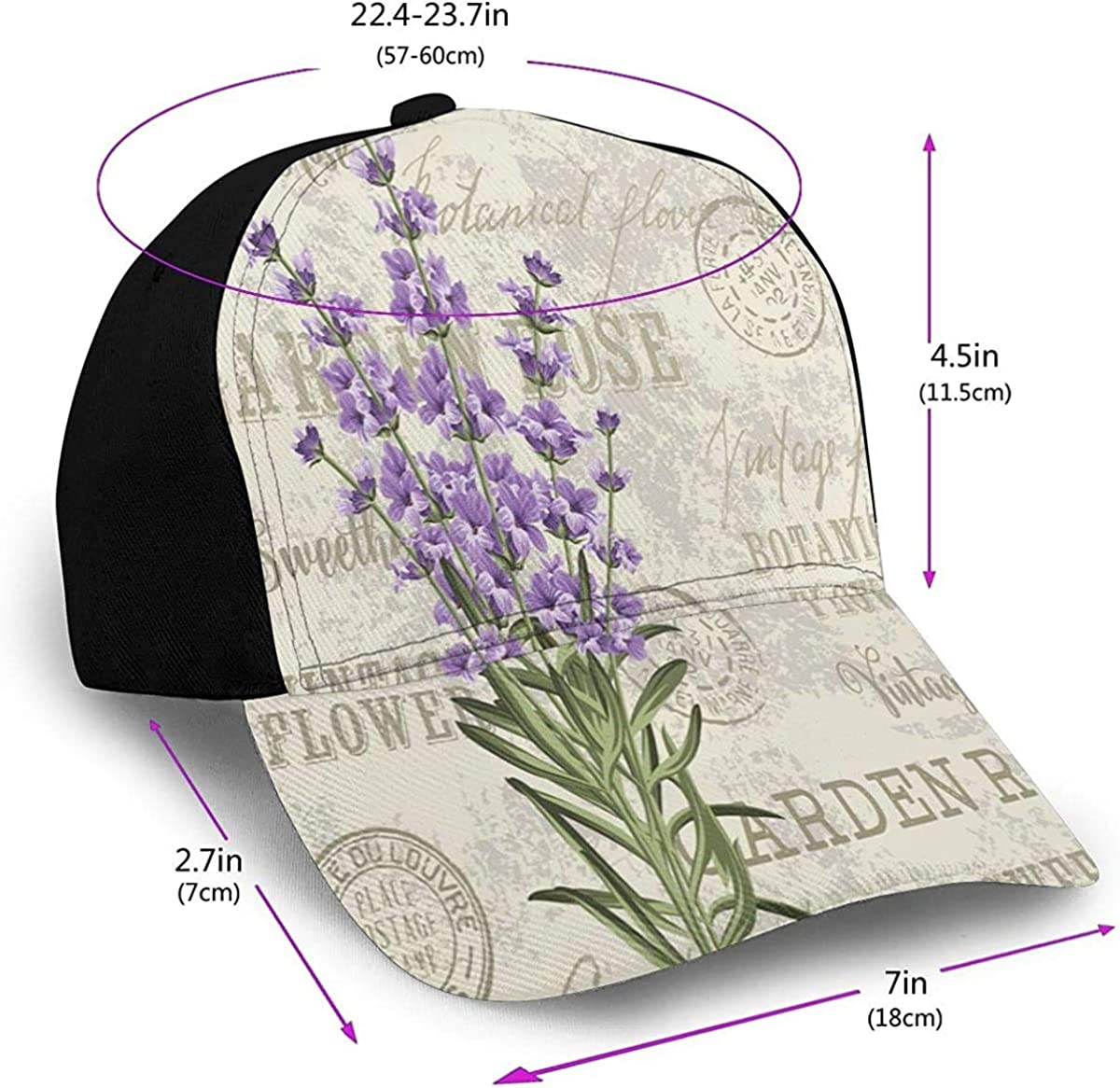 Vintage Postcard Composition with Purple Flowers Lightweight Unisex Baseball Caps Adjustable Breathable Sun Hat for Sport Outdoor