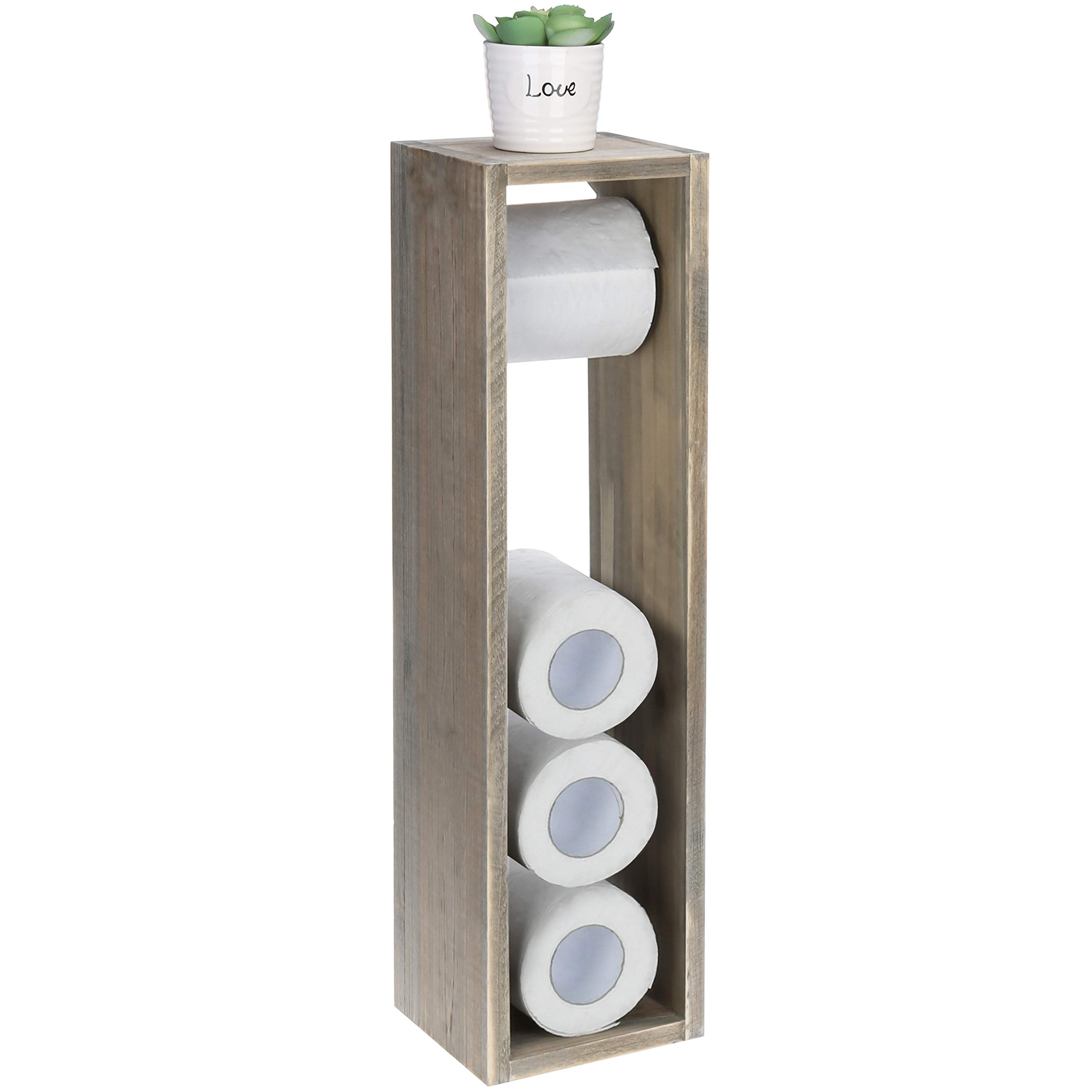 MyGift Rustic Grey Wood Toilet Paper Roll Dispenser & Storage Stand