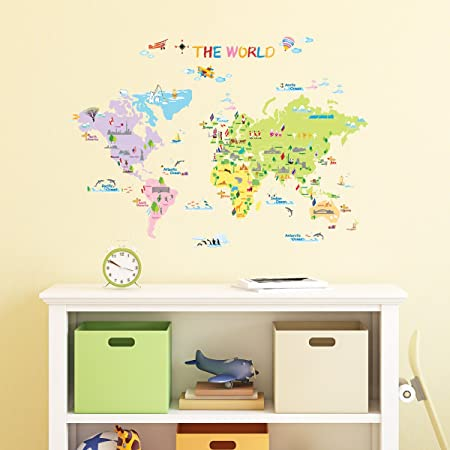 Decowall DW 1203 Multicoloured World Map Kids Wall Stickers Wall Decals  Peel And Stick Removable