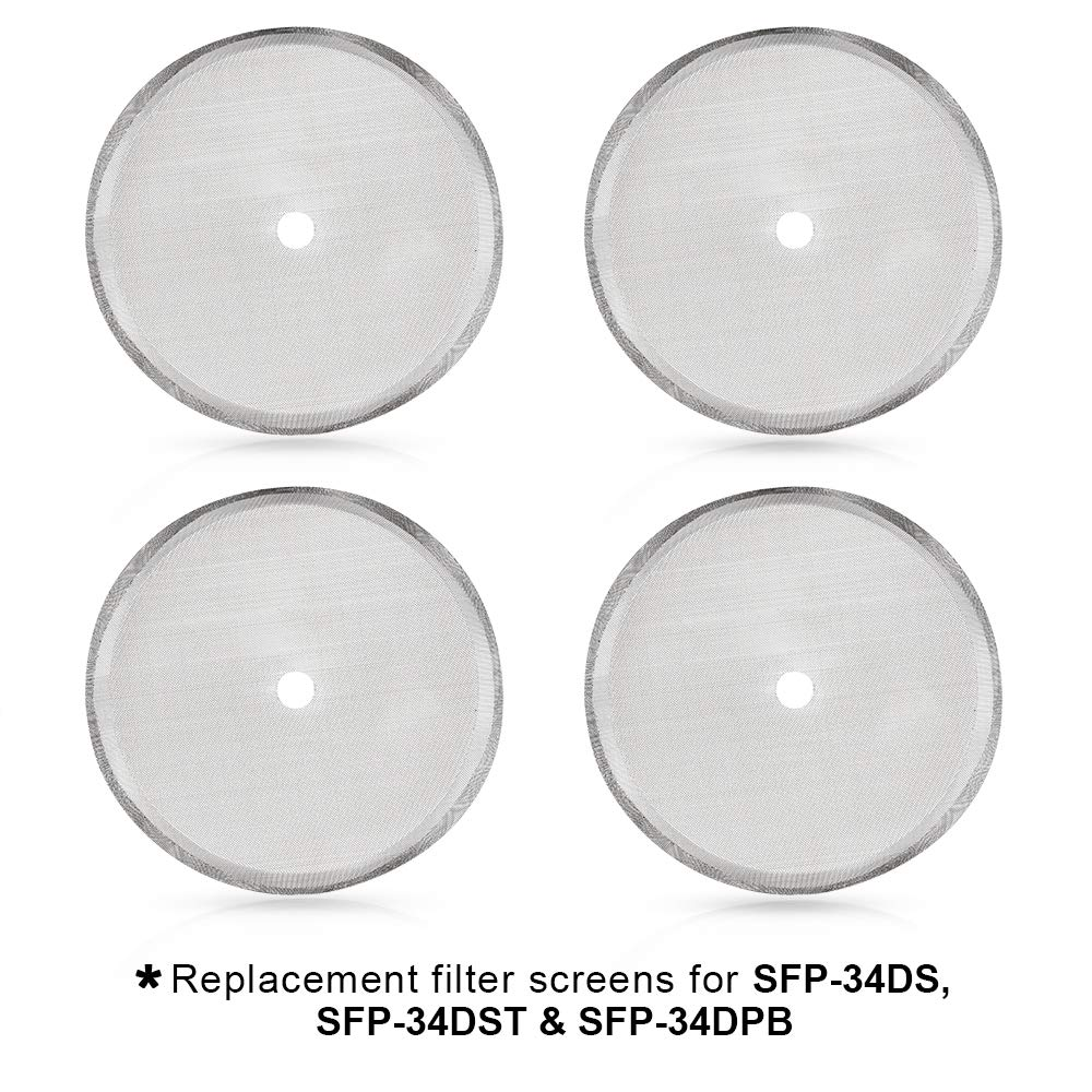 Secura French Press Replacement Screens, Stainless Steel Reusable Mesh Filter for 34 Ounce, 1 Liter, 8 Cup Coffee Press, 4 Pack