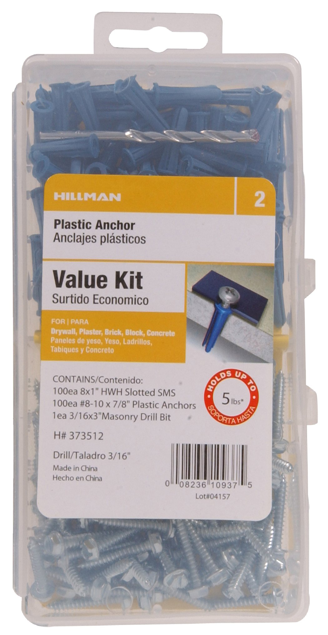 The Hillman Group 373509 Plastic Anchor Kit Number 6-8 Includes Screws and Drill Bit , 1-Pack