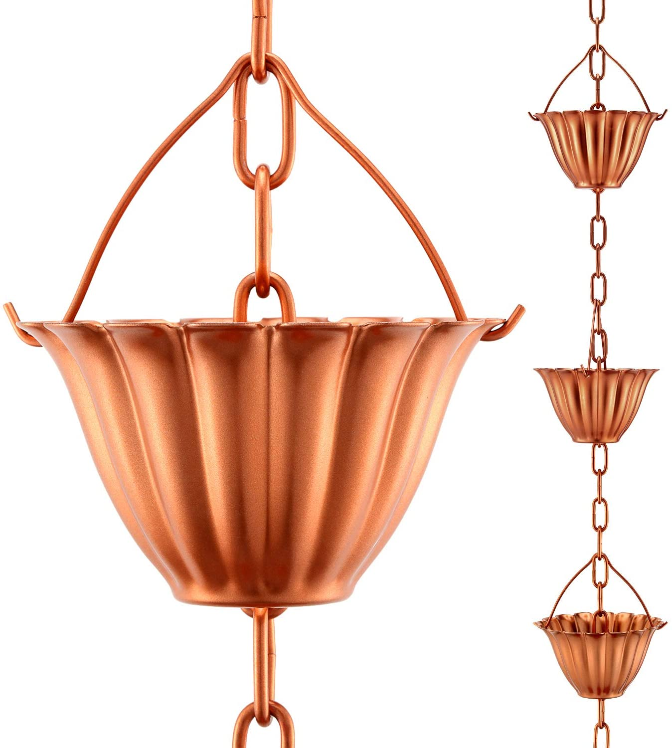OAK LEAF Rain Chain Set, 8.5ft Copper Plated Rain Chain for Gutters with Adapter, Lotus Rain Chain Cups to Replace Gutter Downspout, Divert Water and Home Display, 12 Cups, Adjustable, Rose Gold