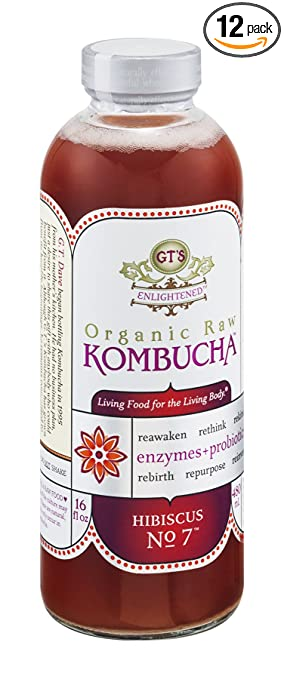 GT'S ENLIGHTENED KOMBUCHA, Hibiscus, 16 Ounce (Pack of 12)