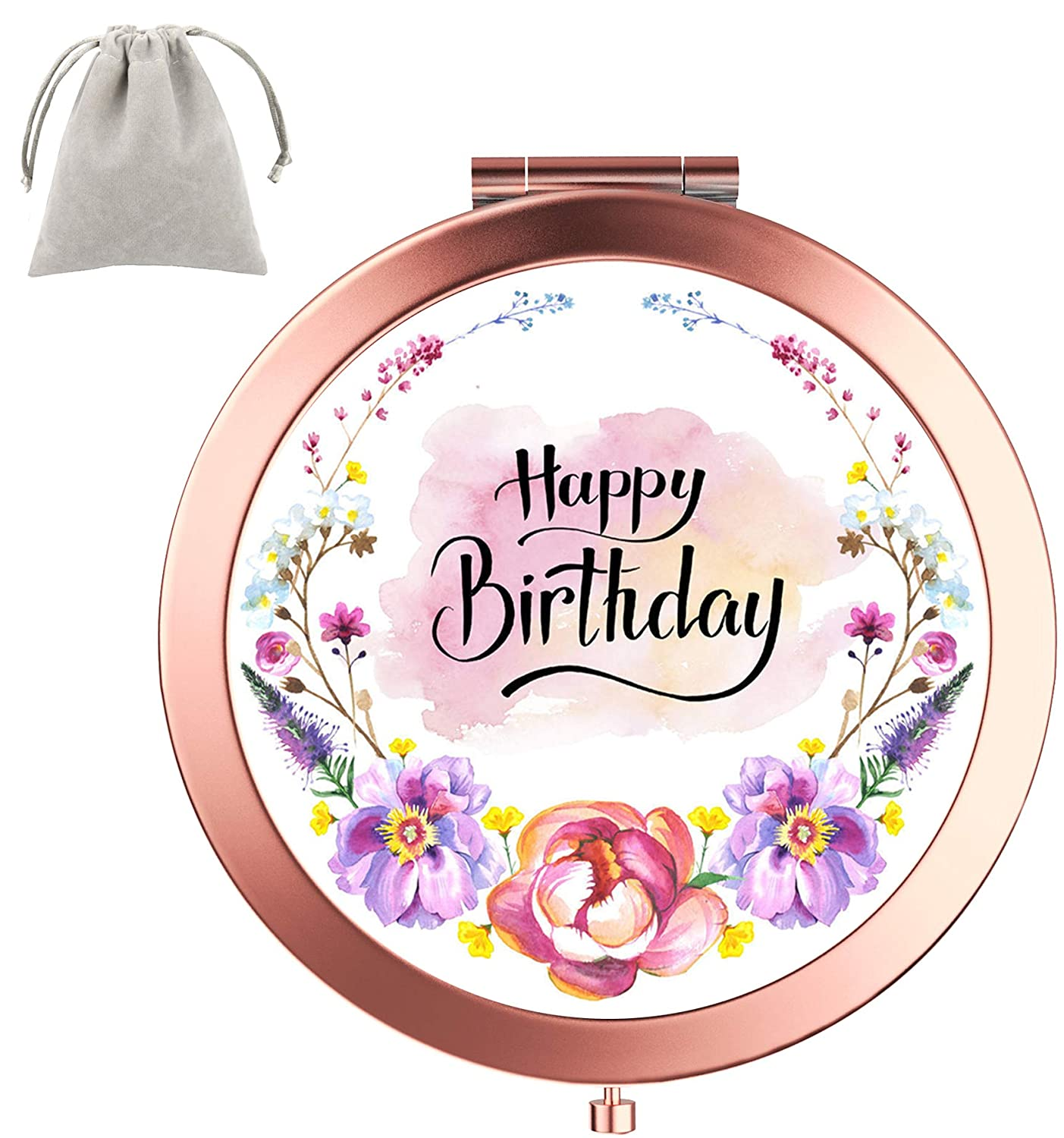 Compact Mirror Dynippy Round Rose Gold 2 x 1x Magnification Makeup Mirror for Purses and Travel Folding Mini Pocket Mirror Portable Hand for Girls Woman Mother - Happy Birthday