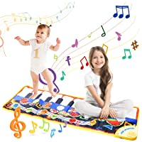 Musical Piano Mat, Vimpro19 Keys Piano Keyboard Play Mat Children Foot Touch Play Portable Musical Blanket Build-in Speaker & Recording Function for Kids Toddler Girls Boys 43.3'' X14.2''