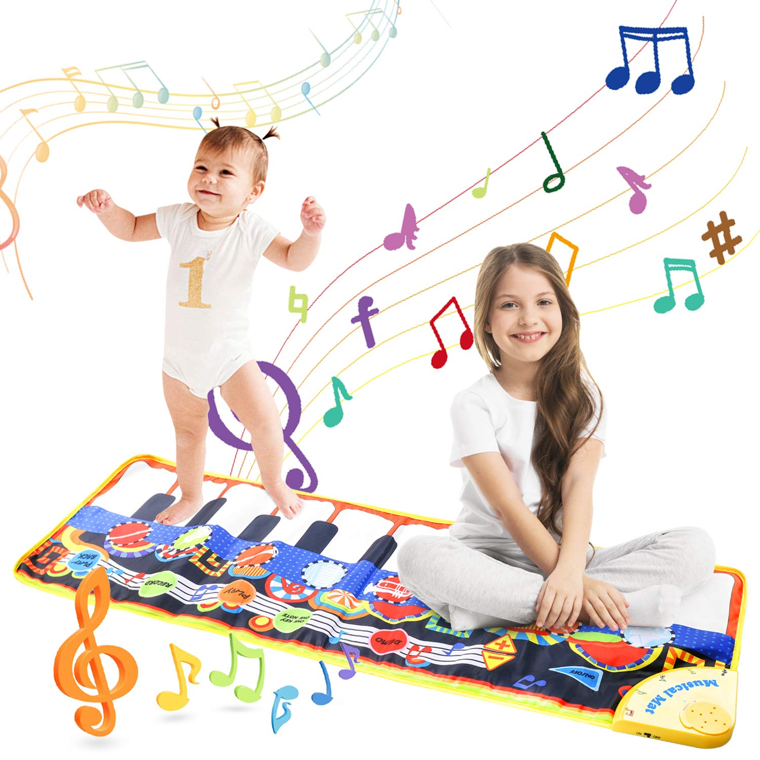Musical Piano Mat, Vimpro19 Keys Piano Keyboard Play Mat Children Foot Touch Play Portable Musical Blanket Build-in Speaker & Recording Function for Kids Toddler Girls Boys 43.3'' X14.2'' by Vimpro