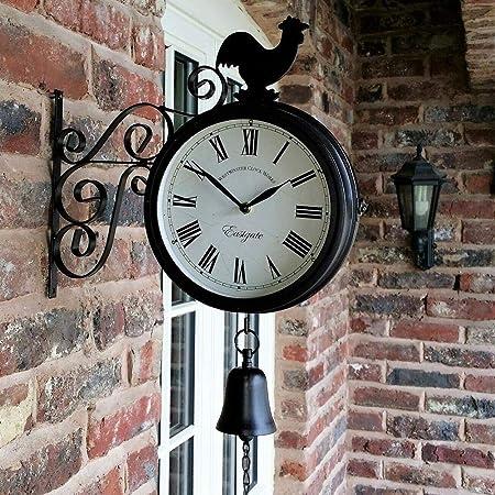 Suppemie - Reloj Moderno de diseño de jardín Exterior de Doble Cara de la Oficina, de Hierro Forjado Innovador, para decoración de la casa 30 37 9 cm: Amazon.es: Hogar