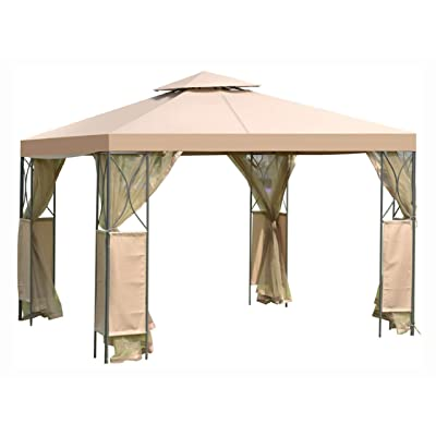 Gazebo & Canopy, 10 x 10 FT Gazebo with Coffee Canopy and Mosquito Netting Mesh Sidewalls: Health & Personal Care