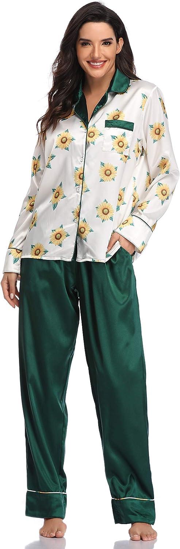 SHEKINI Da Donna Biancheria da Notte Due Pezzi Manica Lunga Pigiama Confortevole Seta V-Collo Indumenti da Notte Invernale Caldo Moda Stampa Floreale Loungewear