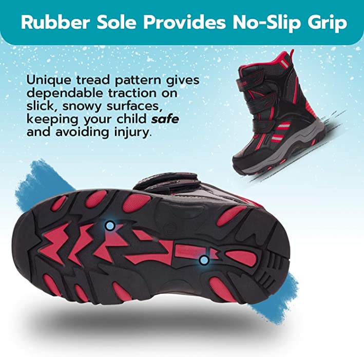 All-Weather Insulated Winter Boots Built for Comfort 130814 Weatherproof Boys Snow Boots with Dual Closure Keeps Feet Warm /& Dry Durability