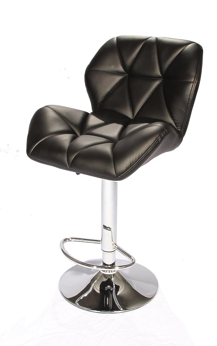 SET of (2) Black Bar Stools Leather Modern Hydraulic Swivel Dinning Chair Barstools