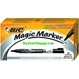 BIC Magic Marker Brand Dry Erase Marker, Fine Bullet Tip, Black, 12-Count