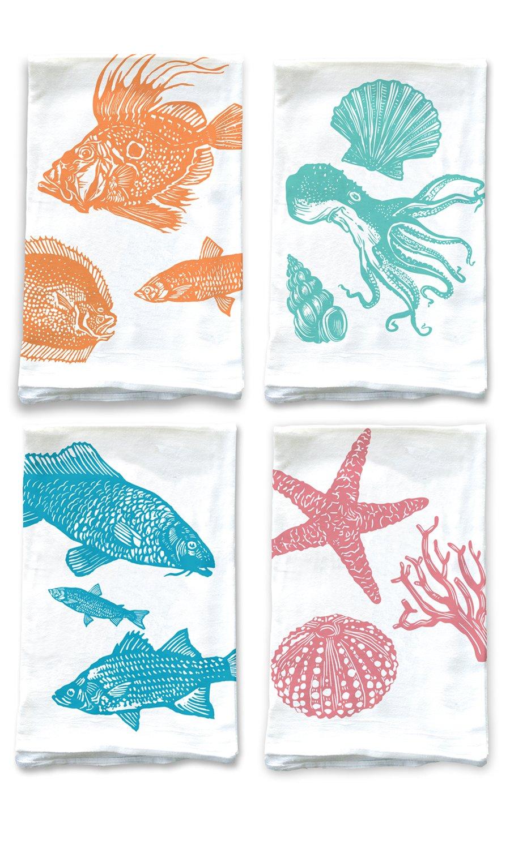 Rigel Stuhmiller Ocean Themed 4-Pack Assortment Sea Kitchen Screenprinted 100% Cotton Flour Sack Dish Towels by Rigel Stuhmiller