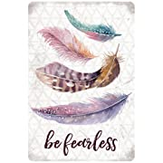 P. Graham Dunn Be Fearless Feathers Design 12 x 8 Metal Tin Wall Sign Plaque
