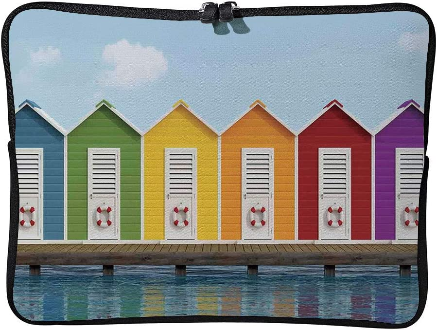 C COABALLA Art,Image of Colorful Beach Cabins On an Old Laptop Sleeve Case Neoprene Carrying Bag for Any Tablet//Notebook AM003964 13 inch//13.3 inch
