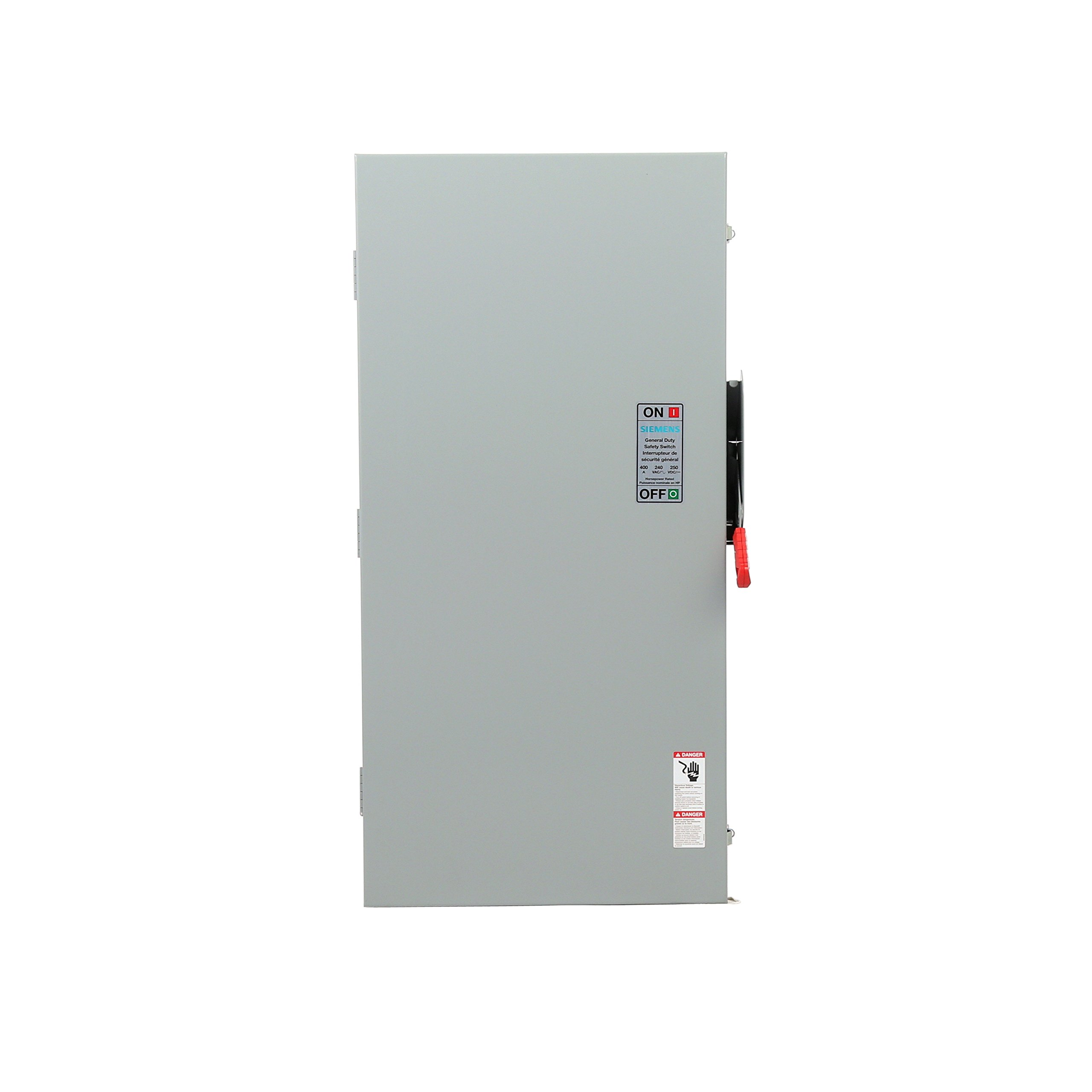 Siemens GF325NA General Duty SAFETY Switch, Fusible, 3 Pole, 240 Volt, 400 Amp, Indoor Rated