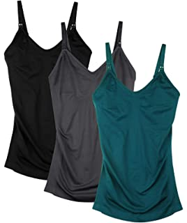 2dce55a739119 Seamless Nursing Tank Tops for Women Breastfeeding Maternity Cami Bra Pack  of 3