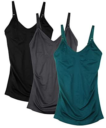 48ae5d817d8 Seamless Nursing Tank Tops for Women Breastfeeding Maternity Cami Bra Pack  of 3 at Amazon Women's Clothing store:
