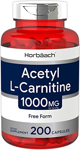 Acetyl L-Carnitine 1000 mg 200 Capsules ALCAR Non-GMO, Gluten Free by Horbaach