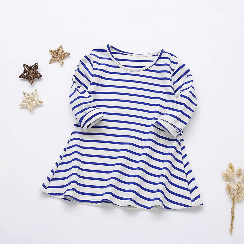 Suma-ma Toddler Dress Candy Color Long Sleeve Striped Princess Casual Toddler Dress for Baby Girls Kids