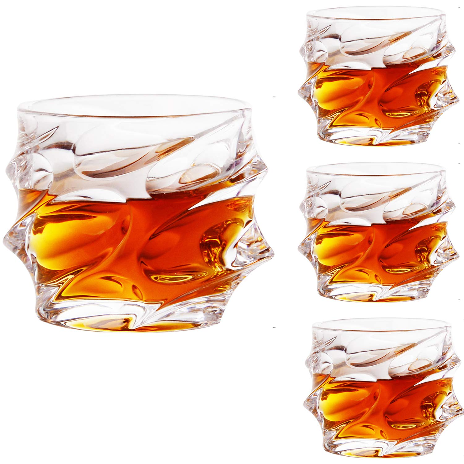 Jiabang Whisky Glasses Set of 4 Crystal Tumblers Old Fashioned Glass Large 10 O z Glass Tumbler for Scotch, Bourbon, Tequila, Vodka, Brandy